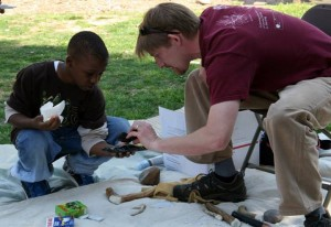 Archaeologists make presentations at schools and public events.