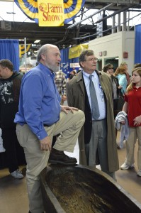 Dr. Kurt Carr and PHMC Executive Director Jim Vaughan interacting with visitors at the Farm Show