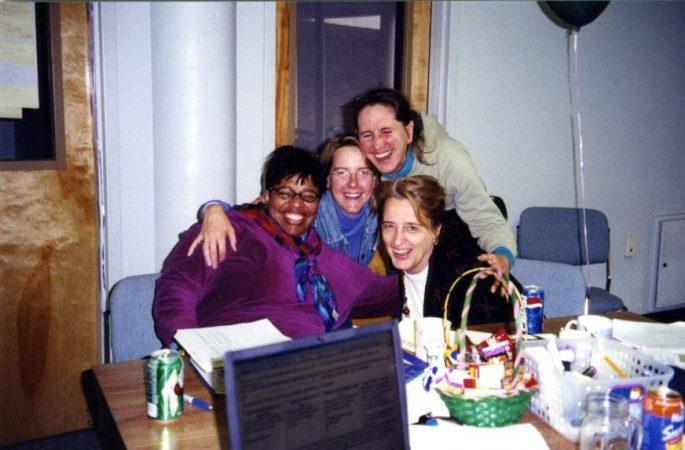 Migration Development Group March 2003. From left to right, Debra Ambush, Joelle Clark, Ruth Reeder and Eleanor King.