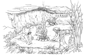 Illustration by Duncan Bullock of early peoples carving rock art.