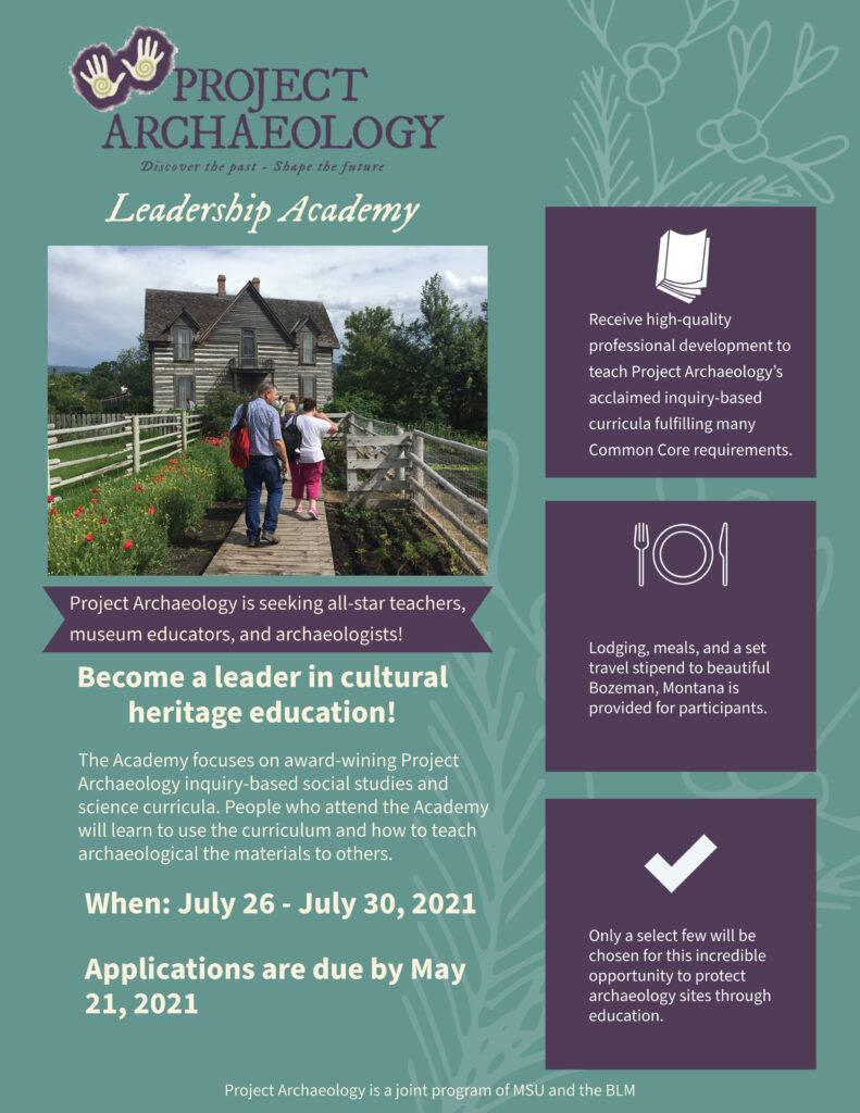 Project Archaeology Leadership Academy @ Montana State University