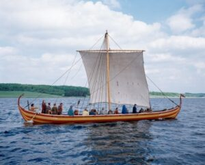 Image 6: A reconstructed boat named the Helge Ask from the Viking Ship Museum. Image from the Viking Ship Museum.