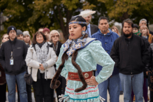 Maritza Garcia performing as part of the land acknowledgment ceremony at the Field Museum (Photo from Michelle Kuo)