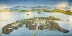 A drawing of what Tenochtitlan looked like when the conquistadors first saw it